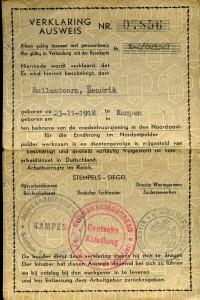 Voorkant van een Ausweis, een vergunning om te werken