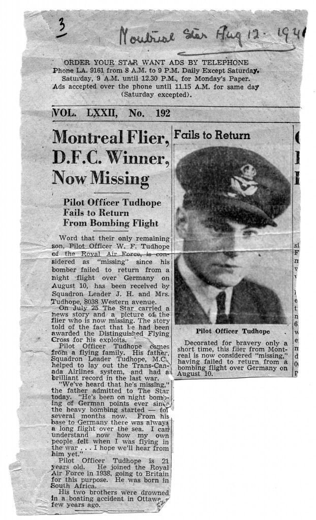 Krantenartikel uit de Canadese krant de Montreal Star van 12 augustus 1940. Het knipsel is in 1952 opgestuurd naar de heer Koers in Kampen door de vader van Bill Tudhope.
