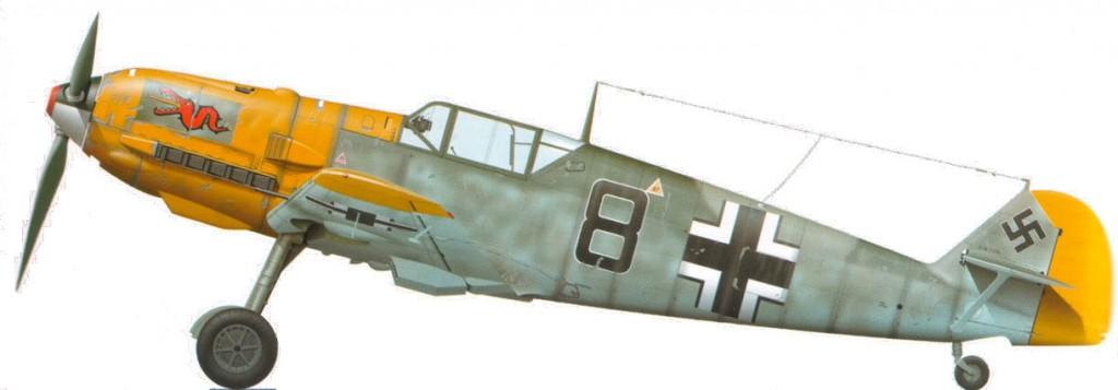 Een Messerschmitt Bf-109 in de kleuren van Jagdgeschwader 3.