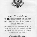 Oorkonde voor Jacob Muller van Generaal Dwight D. Eisenhower voor hulp aan vliegeniers uit de Verenigde Staten tijdens de Tweede Wereldoorlog.