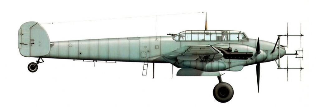 De tweemotorige Messerschmitt Bf-110G nachtjager.