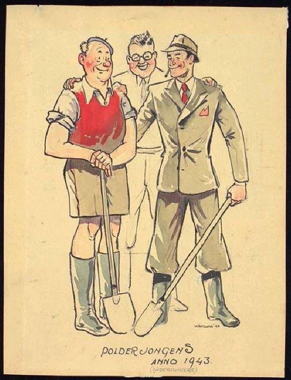 Polderjongens anno 1943; onderduikers blozend en met een brede glimlach bijeen. Duidelijk is dat dit niet de noeste werkers zijn die met verwacht bij polderwerkers. Spotprent door poldertekenaar Henk Rotgans.