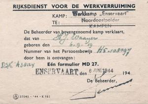 Een werkvergunning voor het werken vanuit kamp Enservaart.