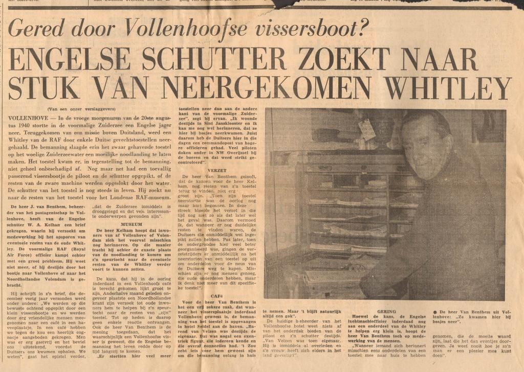 Verslag uit de krant over de zoektocht van radio operator/boordschutter Walter Kelham naar de locatie van zijn crash in februari 1975, enkele maanden voor zijn dood.