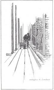 Tekening woningbouw Emmeloord. Afkjomstig: Boekje 10 jaren Noordoostpolder
